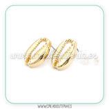 Pendiente base caracola caputserpentis dorado sin anilla C950 (1 Par)