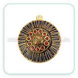 Colgante tibetano - 004 - Dorado y adornos Azul marino y rojo
