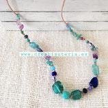 """Bisutería acabada - """"Verano"""" Collar mix piedra  y cristal tono turquesa y azul - 004"""