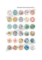 30 imágenes estampados florales vintage III 25x25mm