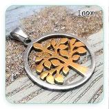 INOX - Árbol de la vida plateado y dorado Grande-  acero inoxidable