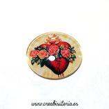 Cabuchón Cristal Religión - Detente  / Sagrado Corazón modelo floreado REDONDO
