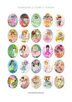 25 imágenes Ilustraciones vintage muñequitas y flores II 30x40mm