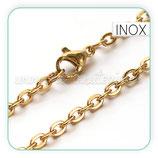 INOX - Cadena con cierre inox chapado en oro  LARGA  74,9cm  Inox P3712