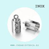 INOX - Terminales de aplastar redondeado grande  para cuerda de 3-4mm P8306 (20 unidades)