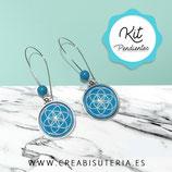 KIT PENDIENTES Hippies plateado flor de la vida azul claro 18mm y bolita azul KITFV018M