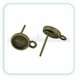Pendiente base redonda camafeo 6mm bronce viejo  ACCBAS-P20143 (10 pares)