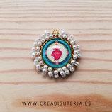 Producto Acabado - Medalla religiosa - Sagrado Corazón redonda dorado bordado perla acrílica