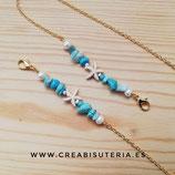Producto acabado - Cordón para mascarilla modelo cadena dorada y estrella de mar colro crudo , abalorios y perlas