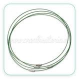 Correa gargantilla alambre de acero VERDE (10 unidades) C051