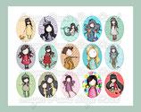 Muñecas de moda MODELO 1 fondos de colores