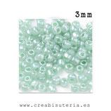 Abalorios -  Cristal de colores rocalla anacarada tono verde menta 45gr RVM001
