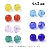 Abalorios -  Cristal de colores rocalla traslúcida deluxe REGULAR redondeadita 4x3mm  20gr ROCTRR