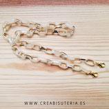 Producto acabado - Cuelgamascarillas o cuelgagafas cadena de eslabones beis claro y Dorado