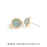 Pendiente aleación chapado en oro pieza central acrílica verde  - 5 pares C705