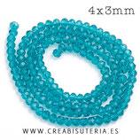 Abalorios -  Cristal facetado  4x3mm color Azul prusia semitransparente P029