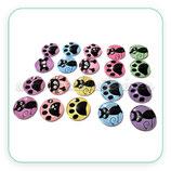 LOTE ÚNICO -  huellas y gatos  en pares. Colores variados (20 unidades)