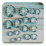 Lote único - cabuchones  tamaños varios ornamento vintage turquesa  TURQVA001