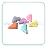 Abalorio acrílico triangular color pastel   (6 pares colores variados)
