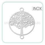 INOX - Conector acero inoxidable árbol de la vida  19x15mm CON-C41404 (2 unidades)