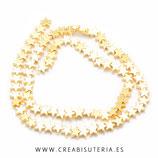 Abalorios piedra hematite estrella dorada - 6x6mm  (40 unidades)