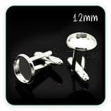 Gemelos 12 mm de cabuchón plateados GEM-C17125