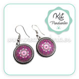 KIT PENDIENTES Hippies bronce viejo  MANDALA  16mm COLOR  PD002