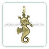 Colgante caballito de mar  anilla perpendicular bronce viejo (10 unidades)