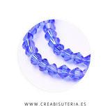 Abalorio cristal negro bicono facetado 4mm Azul  ( tira de 104 abalorios aprox)