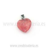 Colgante de piedra de cuarzo color cereza en forma de corazón