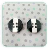 Botones 12mm rayas BLANCO GRIS NEGRO. Modelo 3R  (10 unidades)