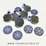 LOTE ÚNICO - 3 juegos de  pclip 20mm plateados + cristal celta azul PAZUL203