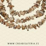 Abalorio piedra jaspe chips colores marrón - crudo  4/6/11/7mm una tira