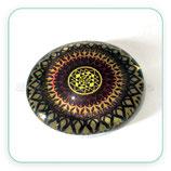 Cabuchón Cristal ilustrado Mandala tonos Marrón granate y amarilo New* mil pétalos