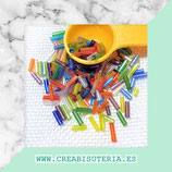Abalorios -  Cristal de colores, canutillo de colores traslúcidos 6x1,8mm 20gr CAN001