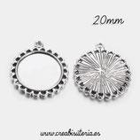 Camafeo borde arandelitas plata vieja 20mm (10 unidades)