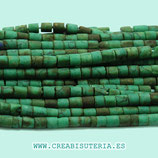 Abalorios Piedra natural turquesa verdes azulados  tubitos minis 1,5-2mm aprox.   (160 unid. aprox.) T13205