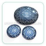 Cabuchón Cristal ilustrado Mandala Azul Marino Nueva***