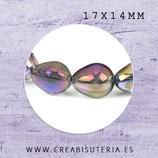 Abalorio de cristal  gota colro púrpura 17x14mm (10 unidades) C88