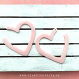 Colgante Resina -  corazón / aro  plano rosa pastel anacarado - 2 unidades