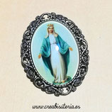 Broche vintage de La Virgen de la medalla Milagrosa  BVirgenmedallamilagrosa 01