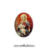 Cabuchón Cristal Religión - Nuestra Señora del Rosario (fondo rojo)