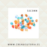 Abalorio de cristal facetado- Gota mini 5x3mm Colores variados (50 unidades) PG/5x3mm