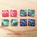 LOTE ÚNICO - Cabuchones 15mm cuadrados de motivos retro-POP001  - 4 pares