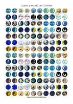 140 Imagenes Lunas y estrellas 15x15mm