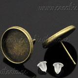 Pendiente base botón camafeo bronce antiguo cabuchón 14mm (Un par) C17303  (5 unidades)