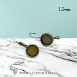 Pendiente camafeo bronce viejo clip 12mm  ACCBAS-C16716  (10 pares)