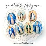 Cabuchón Cristal Religión - Virgen de la Medalla Milagrosa Lote 7 modelos