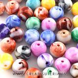 """Abalorio acrícilo 12mm multicolor efecto """"globo vintage""""  P853  (20 unidades)"""