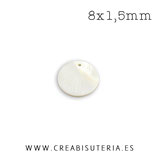 Concha en forma de círculo colo nacar charm 8x1,5mm PR025 (20 unidades)